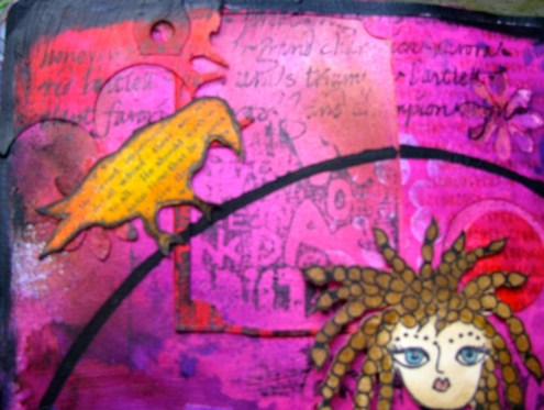 Davinci Art Journal page with stamps, stencils, Sizzix dies and a paper doll (Marjie Kemper)