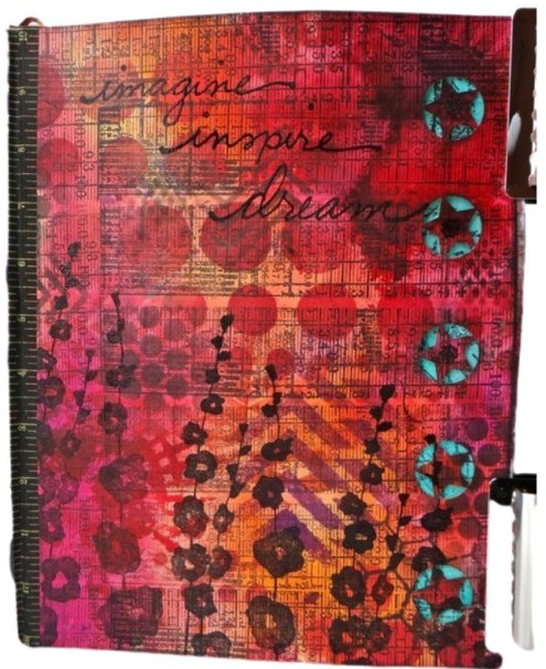 Art journal with Dylusions and edgy border (Marjie Kemper)