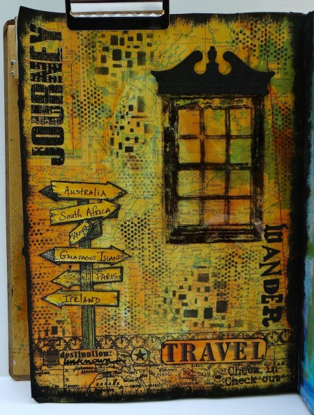 Travel art journal page with Window (Marjie Kemper)