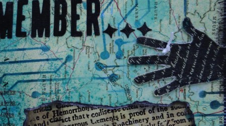 Art journal - hand with remember string (Marjie Kemper)