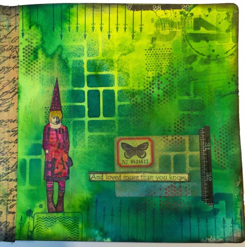 Marjie Kemper art journal with Dylusions Ink Sprays & StencilGirl stencils 8