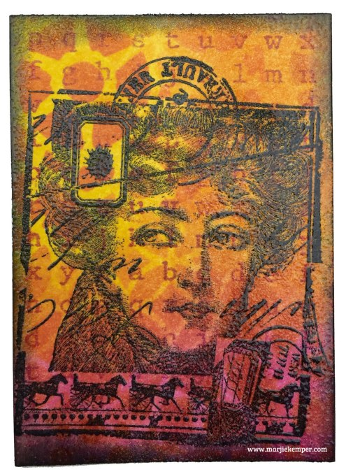 ATCs with Distress Inks, Stamps & Stencils (Tutorial) Marjie Kemper