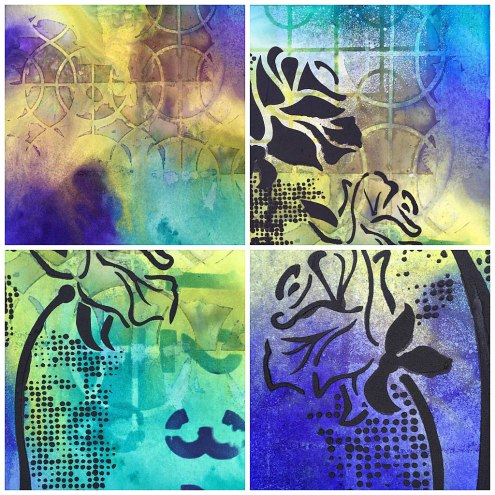 Art journal with Dylusions Ink Sprays + Stencils (Marjie Kemper)