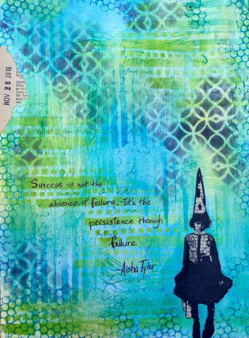 Art Journaling Series - Between the Lines - Aisha Tyler Quote - Marjie Kemper