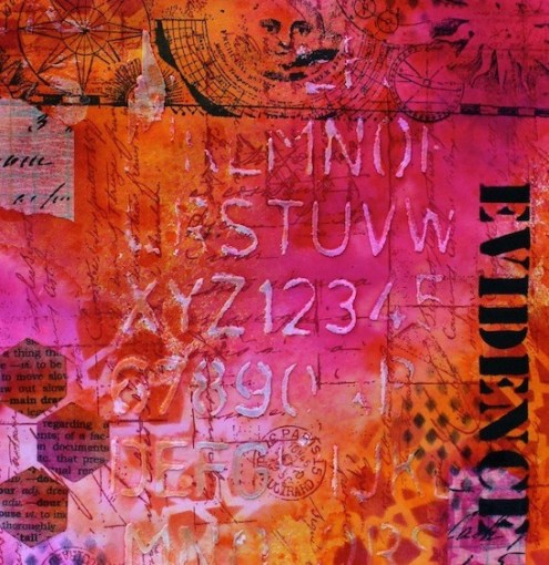 Art journal evidence with Dylusions Ink Sprays (Marjie Kemper)