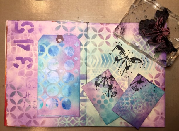 Stamping on multiple surfaces -Relax art journal page combining ink and paint (Marjie Kemper