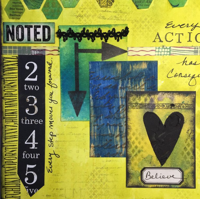 Noted - layered art journaling page