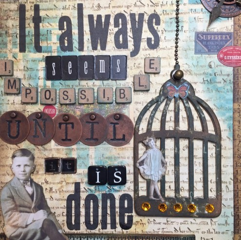 Sizzix Caged Bird die and mixed media collage (Marjie Kemper)