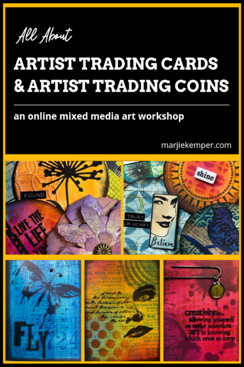 Artist Trading Cards and Artist Trading Coins ATC online mixed media art workshop with Marjie Kemper