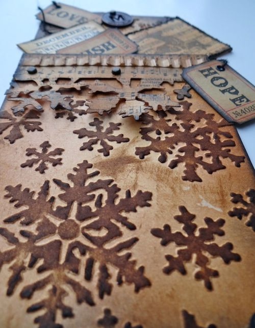 Frilly & Funkie Tag with Tim HOltz on-the-edge Sizzix die (Marjie Kemper Christmas tag)