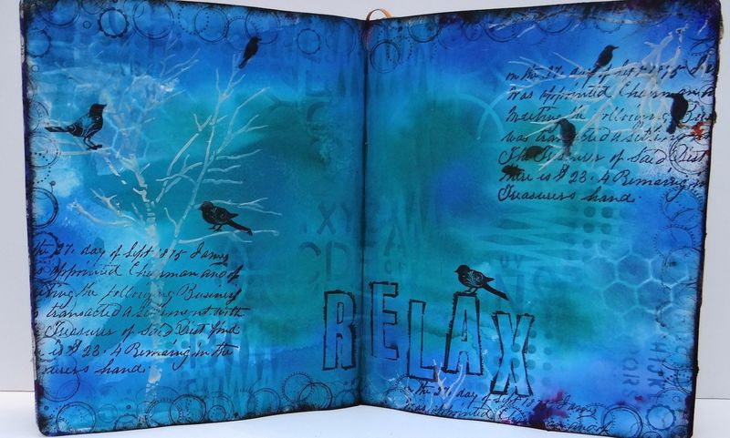 Relax art journaling spread with birds (Marjie Kemper)