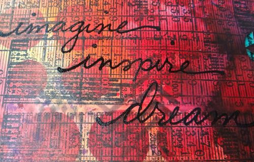 Dylusions Ink Sprays close-up on art journal