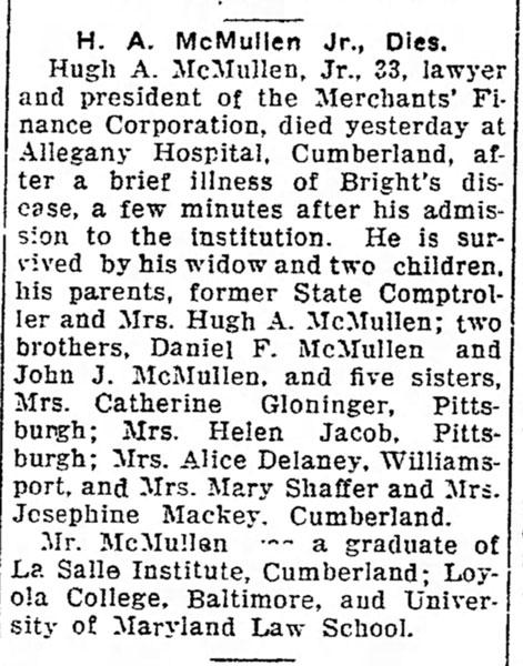 Obituary Hugh A. McMullen Jr