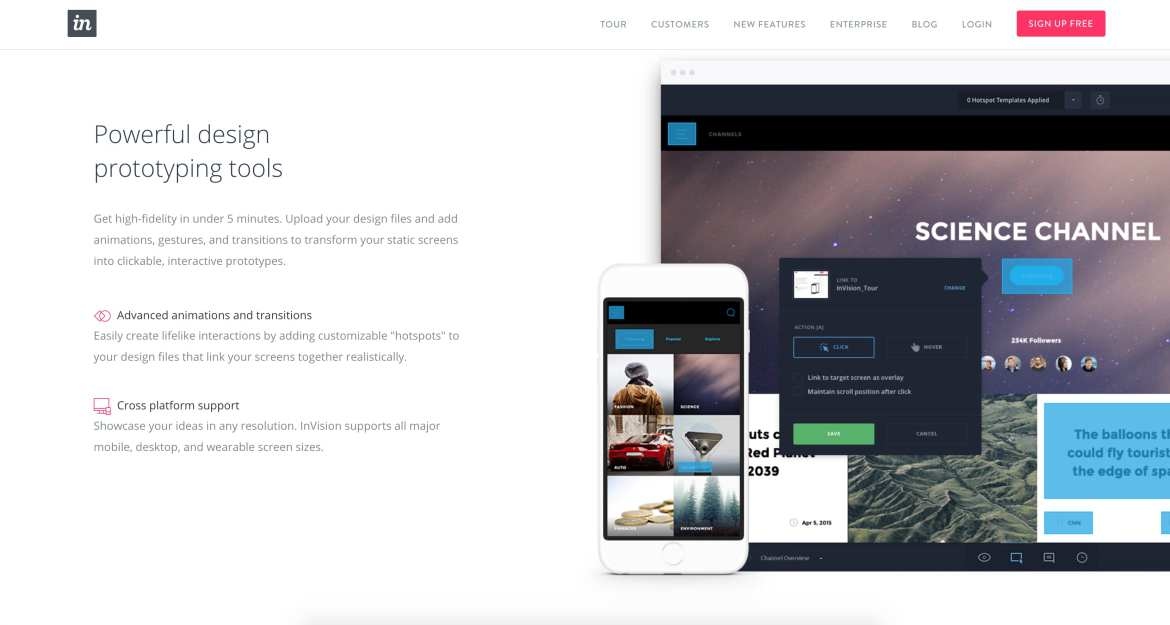 InVision web design tools