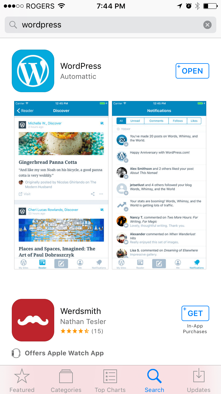 Search WordPress on iOS or Android