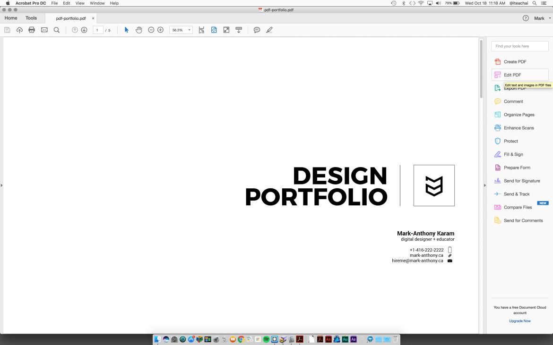 PDF portfolio template edit Acrobat pdf