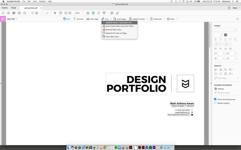 adding a URL to Acrobat pdf
