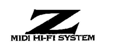 Z MIDI HI-FI SYSTEM Trademark of AIWA CO., LTD.. Serial