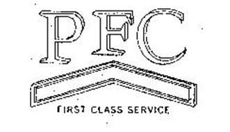 PFC FIRST CLASS SERVICE Trademark of BRIGHTON-BEST