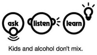 ASK, LISTEN, LEARN KIDS AND ALCOHOL DON'T MIX. Trademark