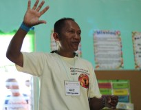 HAGIBBAT Chairperson Amit Gabriel of the Hanunuo Mangyan tribe discusses the rules and regulations in the camp. (Photo Mark Ambay III)