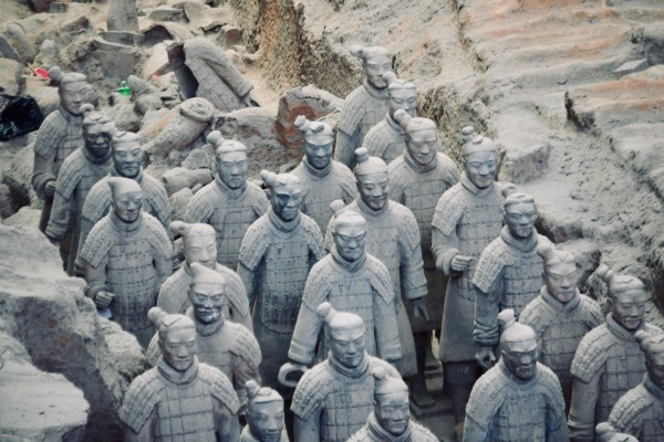 photos inside one of the tree pits containing the iconic Chinese terracotta warriors