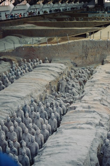 touring one of the three pits containing the famous Chinese terracotta warriors