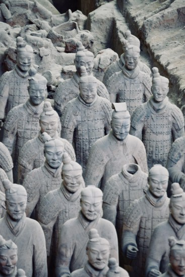 excavations of the famous Shaanxi terracotta warriors in China