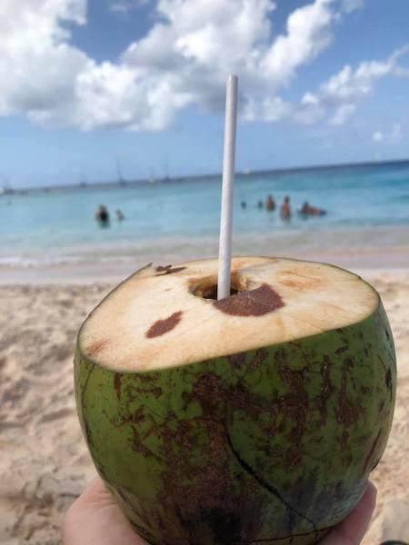 Barbados - Barbados beach break - fresh coconut with local rum