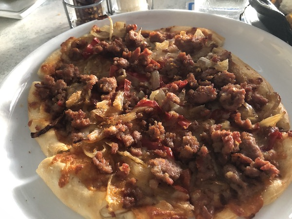 Anna Maria Island - The Sandbar Restaurant - Wild Boar Sausage - Pizza - food blog