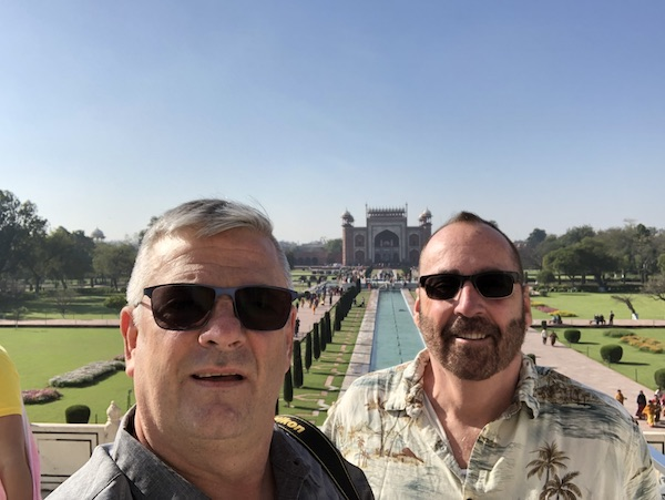 Chuck and Mark - Mark and Chuck's Adventures - Mark and Chuck in India - Mark and Chuck at Taj Mahal - Gate 1 Travel - Gate 1 Travel India - Traveling during the COVID 19 epidemic - Staying Safe while traveling