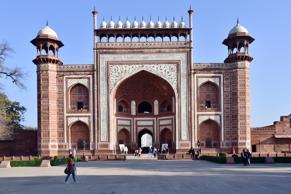 Mark and Chuck's Adventures - India Trip - red sandstone entrance to the Taj Mahal - marble inlay - exterior buildings at the Taj Mahal