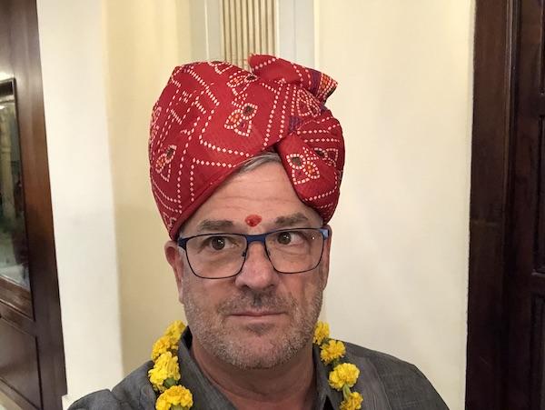 Rajasthani turban - Mark wearing a turban and tikka - Shahpura House