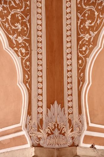 hand painted columns - Jaipur City Palace - Jaipur India