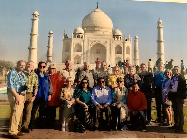 Our Gate 1 Travel 15 Day Classic India with Ranthambore group in front of the Taj Mahal in Agra days before tourist attractions closed down because of COVID-19