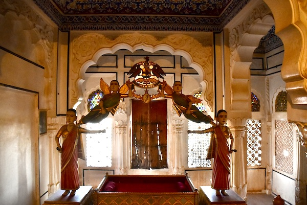 hand carved cradle - -Mehrangarh Fort – Jodhpur – Rajasthan – India – India travel blog – traveling in India