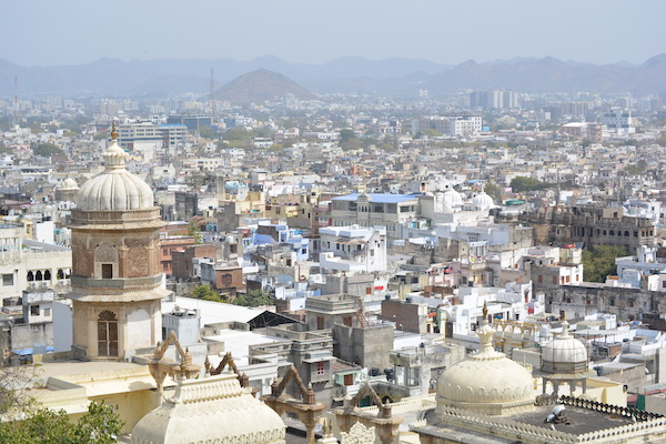 looking down on the city of Udaipur from the top of the city palace