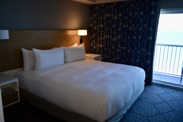 king size bed in our Doubletree Suites hotel room