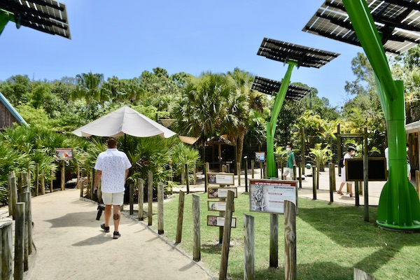 walkways lined with solar panels at the Brevard Zoo