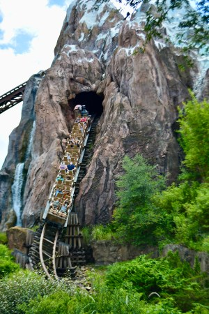 train coming out of the mountain on Expedition Everest at Disney's Animal Kingdom