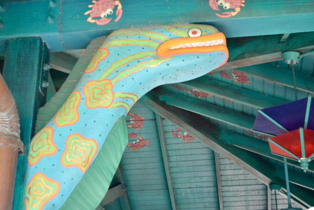 snake and crab themed dining pavilion at Flame Tree Barbecue