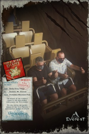 Chuck and Mark riding Expedition Everest at Disney's Animal Kingdom