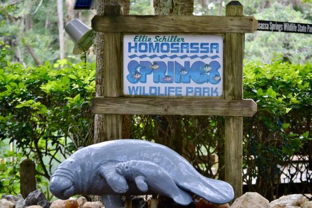 welcome sign at the Ellie Schiller Homosassa Springs Wildlife Park