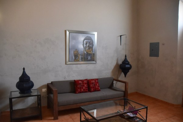 Living room area of our airbnb in Merida Mexico