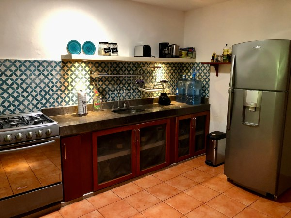 Well stocked kitchen in our Merida Mexico airbnb