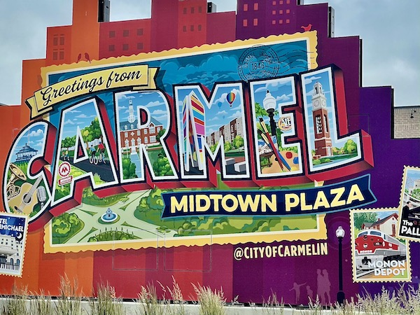 welcome to Carmel Indiana post card mural on Midtown Plaza