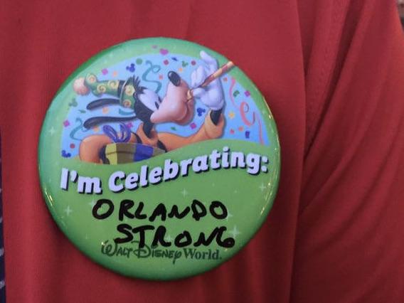 Walt Disney World button reading Orlando Strong