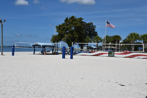 beach volleyball courts along the waterfront in Gulfport Florida