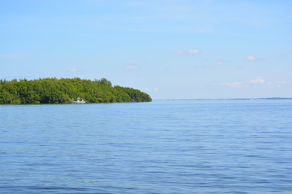 boat finishing off of one of Sanibel Island's smaller islands