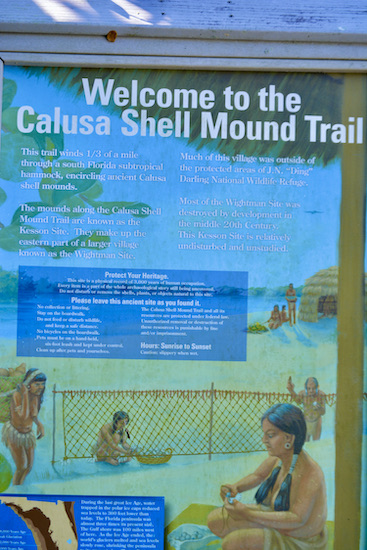 signage on the Calusa Shell Mound